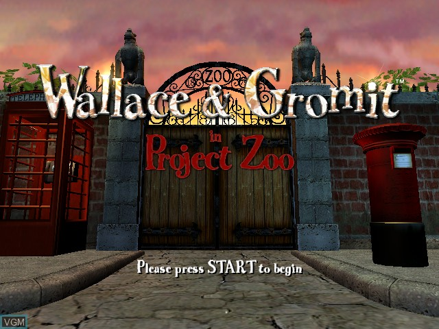 Title screen of the game Wallace & Gromit in Project Zoo on Microsoft Xbox