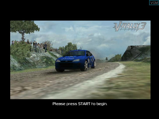 Title screen of the game V-Rally 3 on Microsoft Xbox