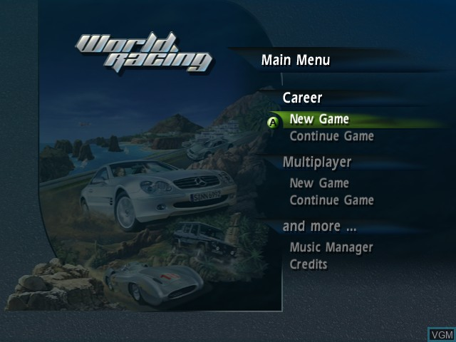 Title screen of the game World Racing on Microsoft Xbox
