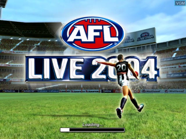 Title screen of the game AFL Live 2004 on Microsoft Xbox