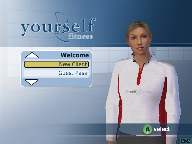 Title screen of the game Yourself!Fitness on Microsoft Xbox