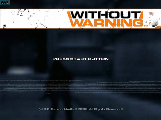 Title screen of the game Without Warning on Microsoft Xbox