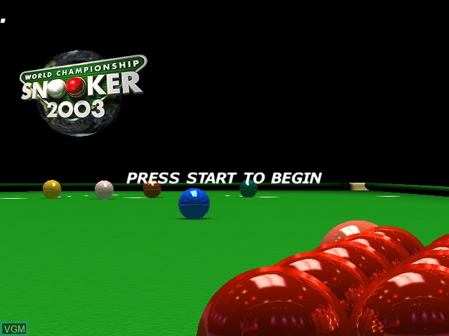 Title screen of the game World Championship Snooker 2003 on Microsoft Xbox