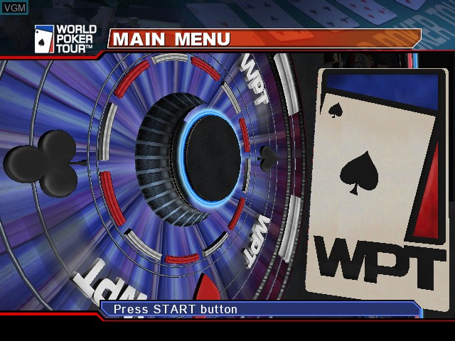 Title screen of the game World Poker Tour on Microsoft Xbox