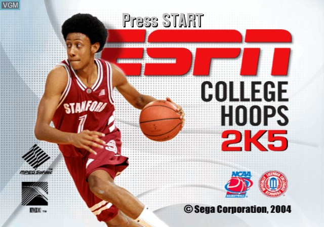 Title screen of the game ESPN College Hoops 2K5 on Microsoft Xbox