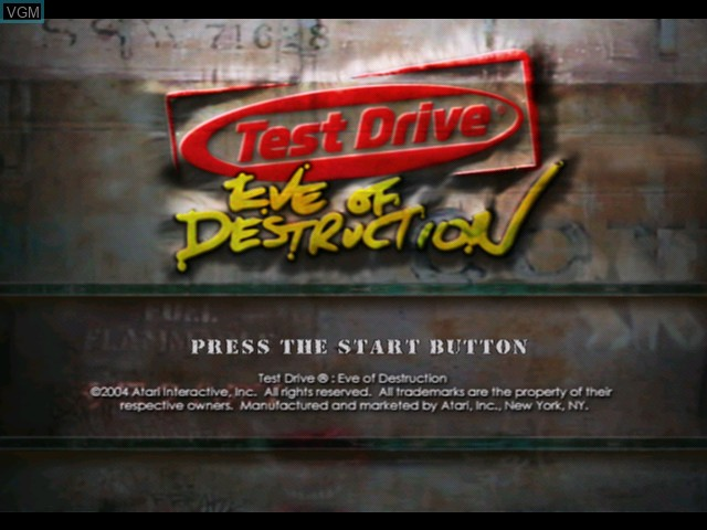 Title screen of the game Test Drive - Eve of Destruction on Microsoft Xbox