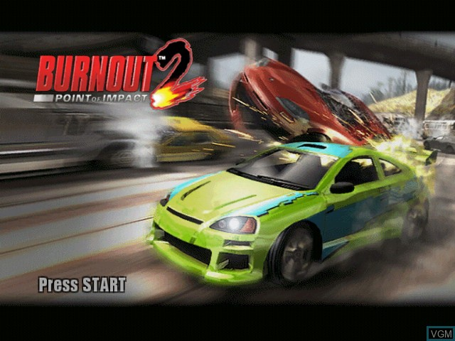 Title screen of the game Burnout 2 - Point of Impact on Microsoft Xbox