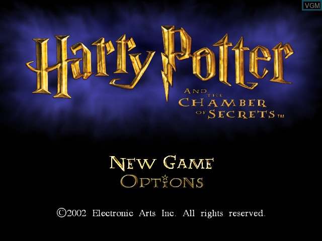 Title screen of the game Harry Potter and the Chamber of Secrets on Microsoft Xbox