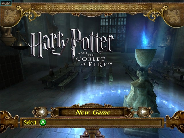 Title screen of the game Harry Potter and the Goblet of Fire on Microsoft Xbox