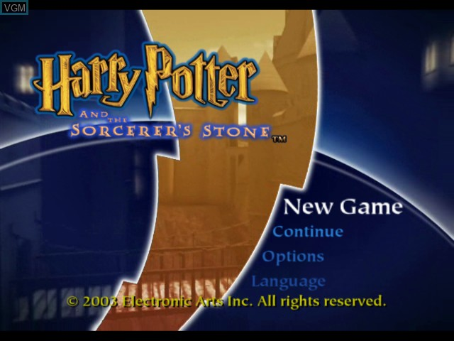 Title screen of the game Harry Potter and the Sorcerer's Stone on Microsoft Xbox