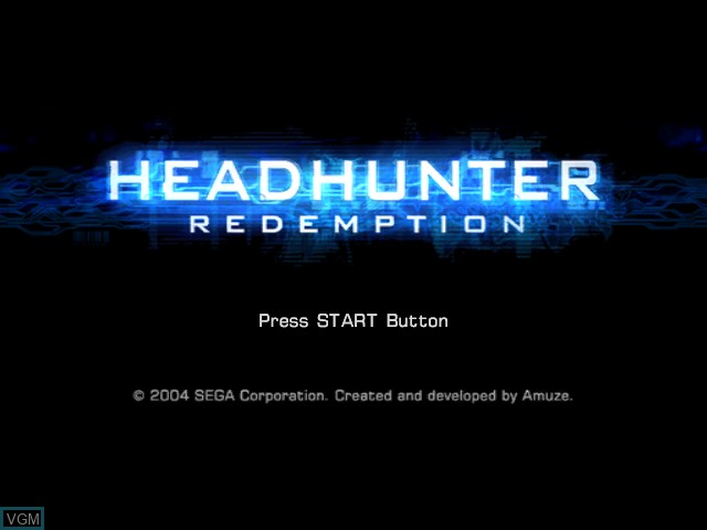 Title screen of the game Headhunter - Redemption on Microsoft Xbox