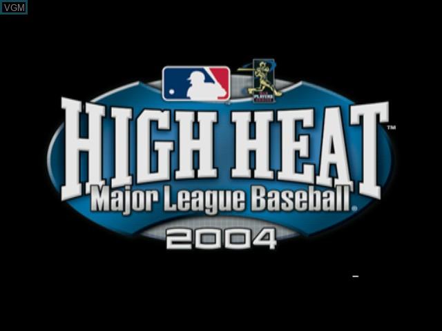 Title screen of the game High Heat Major League Baseball 2004 on Microsoft Xbox