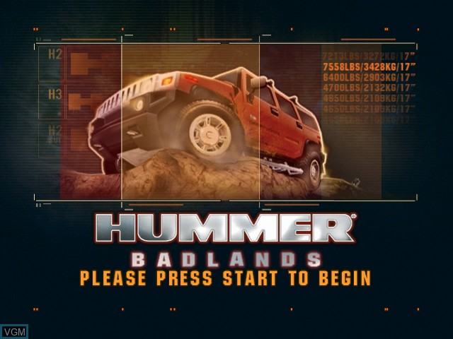 Title screen of the game Hummer Badlands on Microsoft Xbox