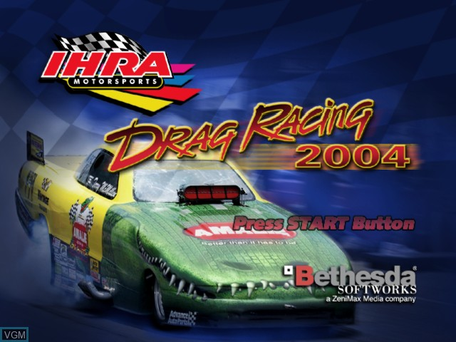 Title screen of the game IHRA Drag Racing 2004 on Microsoft Xbox