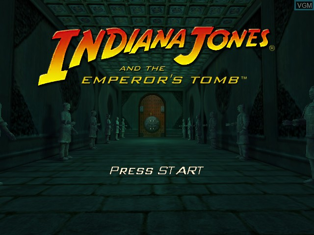 Title screen of the game Indiana Jones and the Emperor's Tomb on Microsoft Xbox