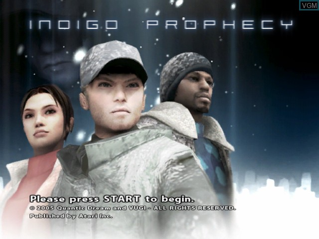 Title screen of the game Indigo Prophecy on Microsoft Xbox