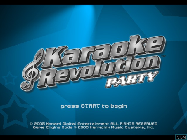 Title screen of the game Karaoke Revolution Party on Microsoft Xbox