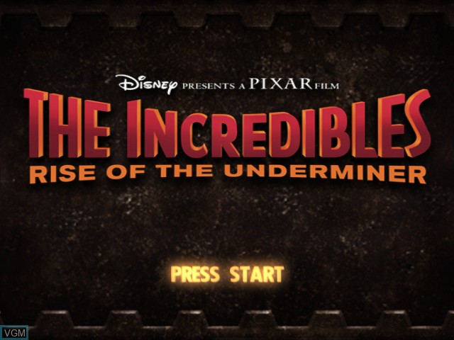 Title screen of the game Incredibles, The - Rise of Underminer on Microsoft Xbox