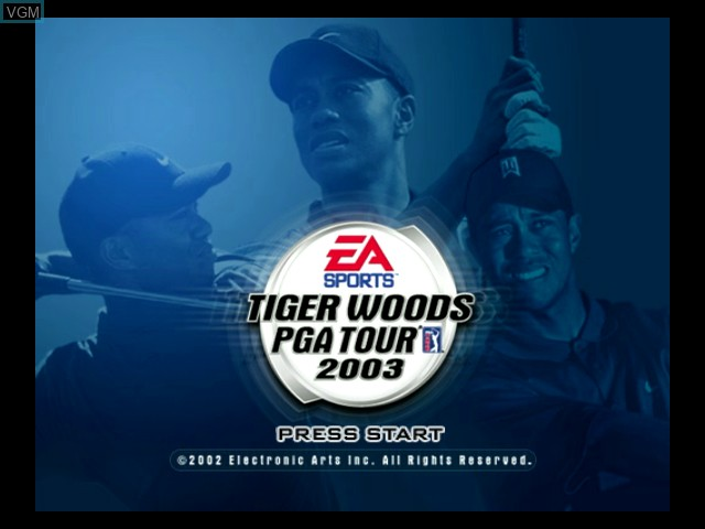 Title screen of the game Tiger Woods PGA Tour 2003 on Microsoft Xbox