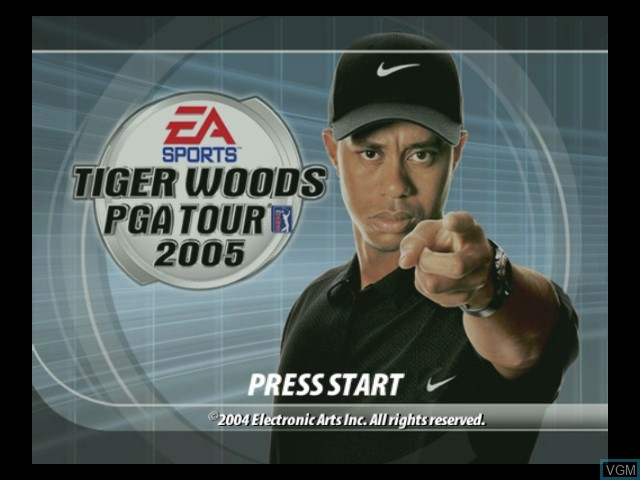 Title screen of the game Tiger Woods PGA Tour 2005 on Microsoft Xbox
