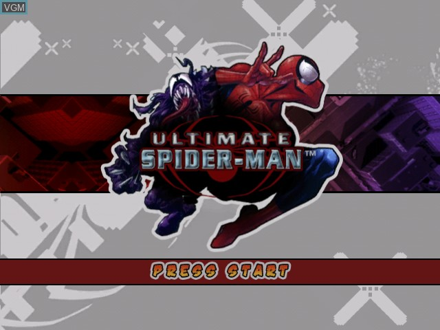 Title screen of the game Ultimate Spider-Man on Microsoft Xbox