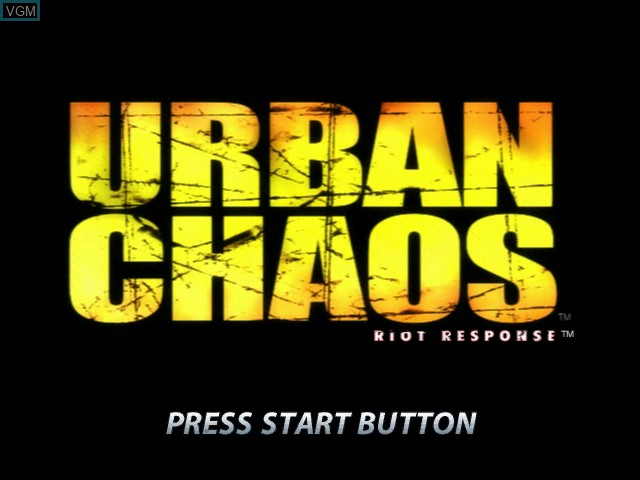 Title screen of the game Urban Chaos - Riot Response on Microsoft Xbox
