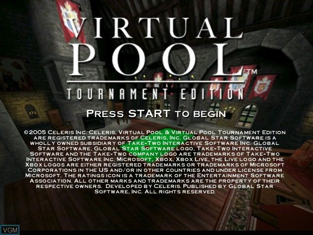 Title screen of the game Virtual Pool - Tournament Edition on Microsoft Xbox