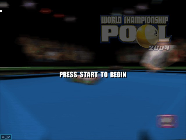 Title screen of the game World Championship Pool 2004 on Microsoft Xbox