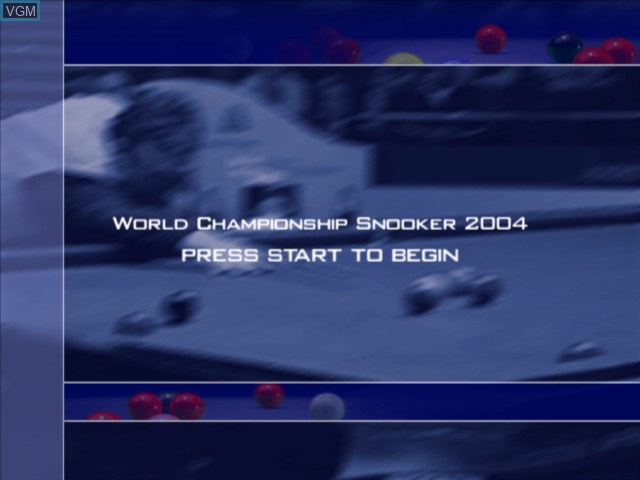 Title screen of the game World Championship Snooker 2004 on Microsoft Xbox