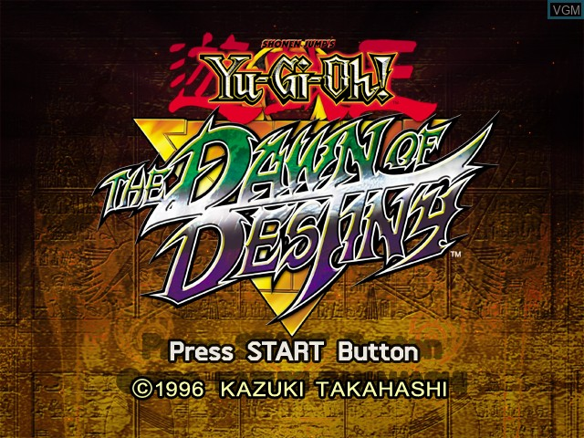 Title screen of the game Yu-Gi-Oh! The Dawn of Destiny on Microsoft Xbox