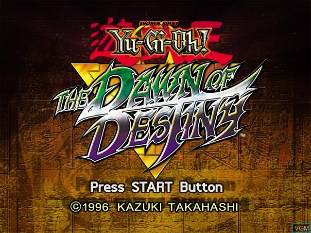 Title screen of the game Yu-Gi-Oh! The Dawn of Destiny on Microsoft Xbox