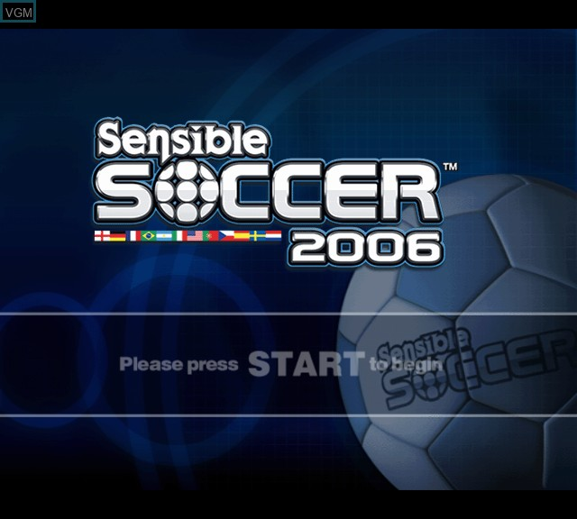 Title screen of the game Sensible Soccer 2006 on Microsoft Xbox