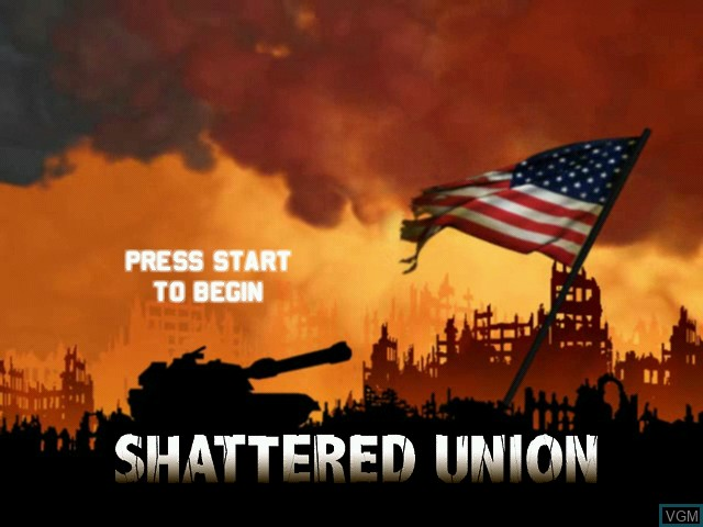 Title screen of the game Shattered Union on Microsoft Xbox