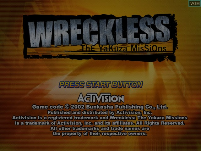 Title screen of the game Wreckless - The Yakuza Missions on Microsoft Xbox