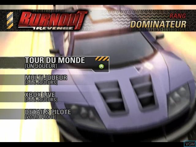 Menu screen of the game Burnout Revenge on Microsoft Xbox