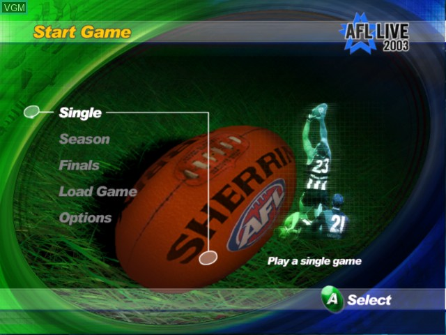 Menu screen of the game AFL Live 2003 on Microsoft Xbox