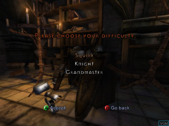 Menu screen of the game Knights of the Temple II on Microsoft Xbox