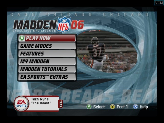 Menu screen of the game Madden NFL 06 on Microsoft Xbox