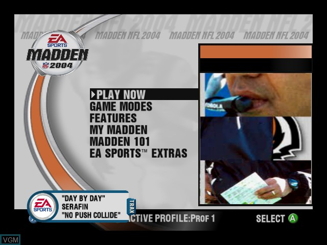 Menu screen of the game Madden NFL 2004 on Microsoft Xbox