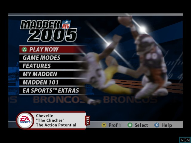 Menu screen of the game Madden NFL 2005 on Microsoft Xbox