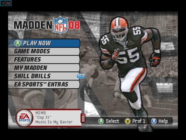 Menu screen of the game Madden NFL 08 on Microsoft Xbox