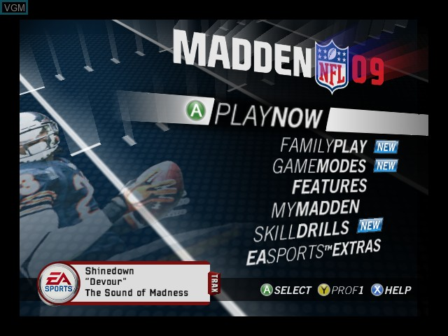 Menu screen of the game Madden NFL 09 on Microsoft Xbox