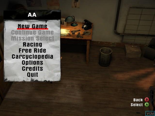 Menu screen of the game Mafia on Microsoft Xbox