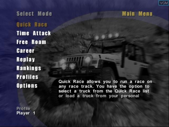 Menu screen of the game 4x4 EVO 2 on Microsoft Xbox