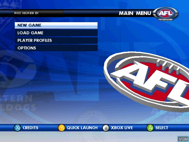 Menu screen of the game AFL Live Premiership Edition on Microsoft Xbox
