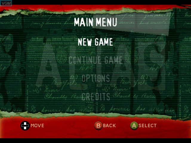 Menu screen of the game Alias on Microsoft Xbox