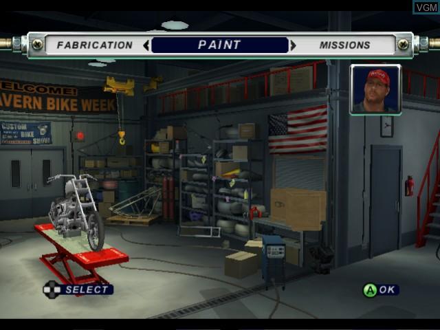 Menu screen of the game American Chopper 2 - Full Throttle on Microsoft Xbox