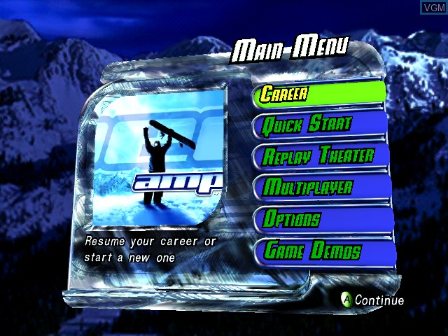 Menu screen of the game Amped - Freestyle Snowboarding on Microsoft Xbox
