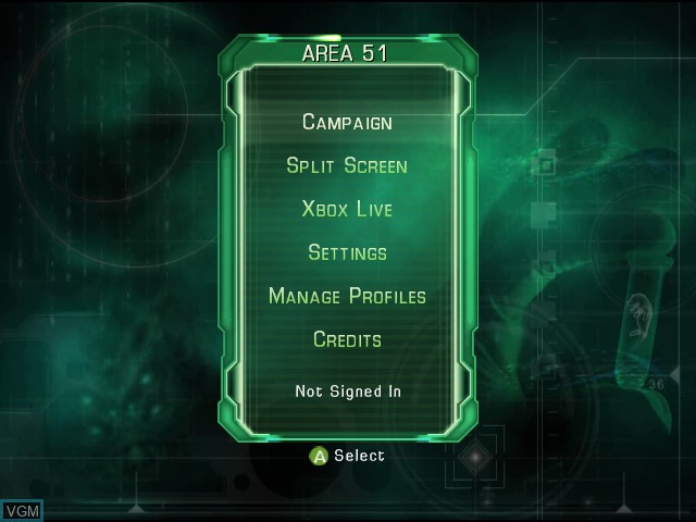 Menu screen of the game Area 51 on Microsoft Xbox