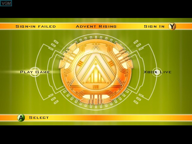 Menu screen of the game Advent Rising on Microsoft Xbox